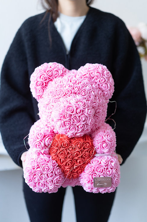 現貨 - [35cm高] 抱心玫瑰熊仔 (粉紅色)
