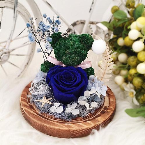 現貨 - 韓式手工永生熊仔玫瑰花 (藍色)