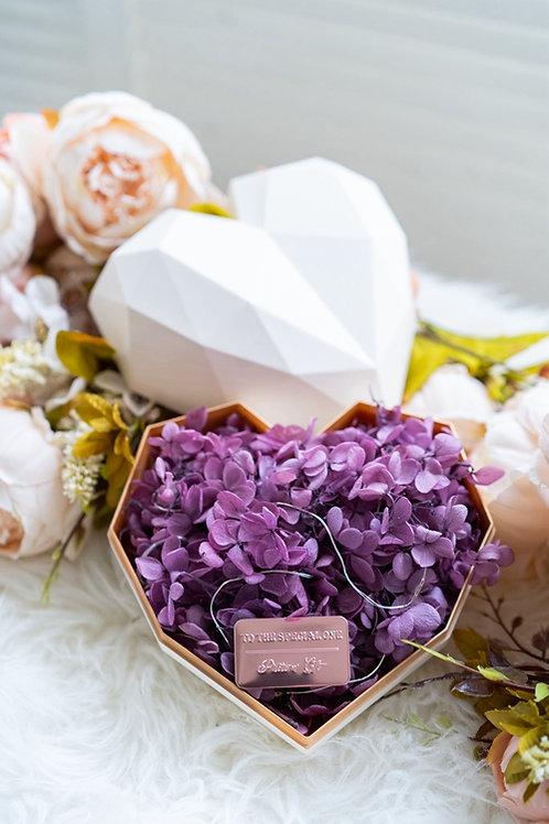 現貨 - 韓式心型永生花盒(白色盒,浪漫紫花)
