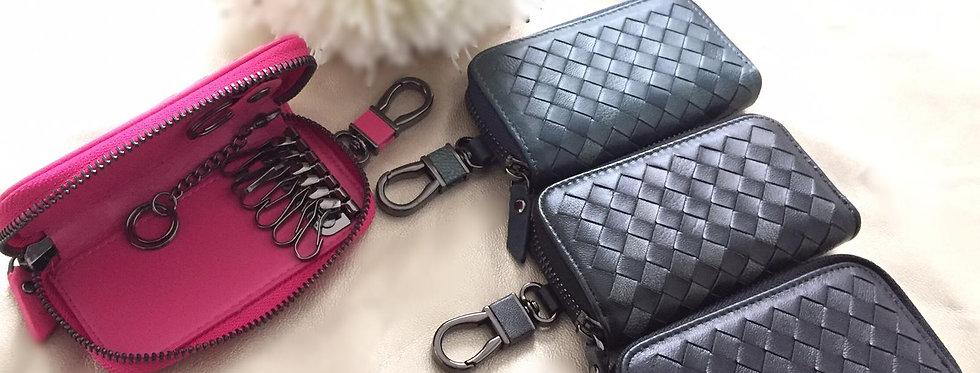 手工編織羊皮鑰匙包 (單排8扣 + 腰扣)