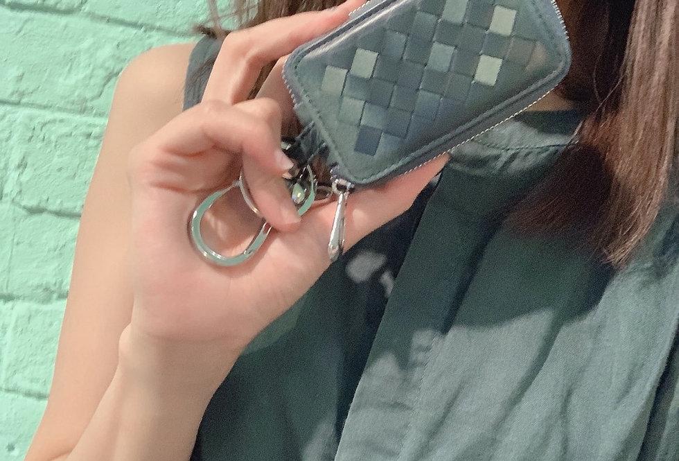 手工編織羊皮鎖匙包(漸變藍色)