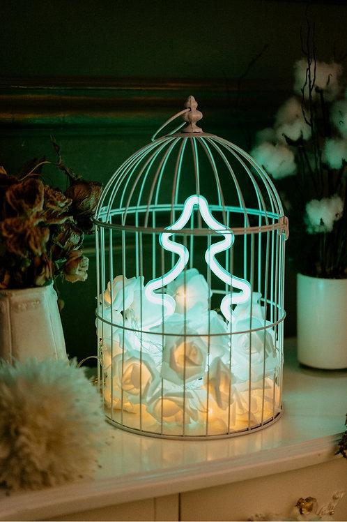 現貨 - 韓式玫瑰燈花鳥籠霓虹檯燈 (聖誕樹)
