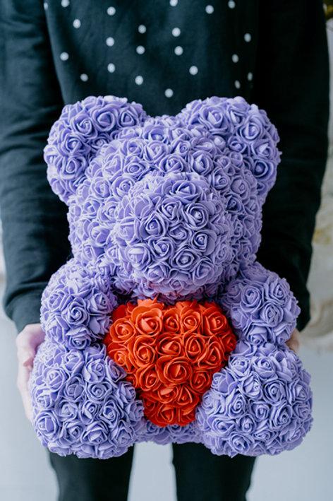現貨 - [35cm高] 抱心玫瑰熊仔 (紫色)
