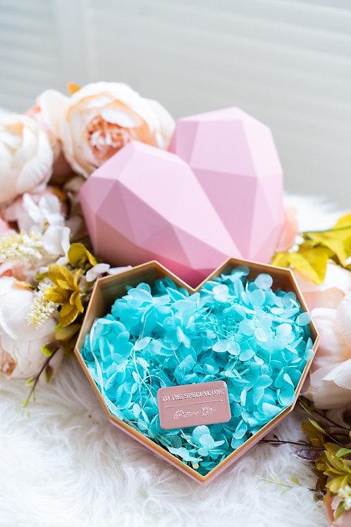 現貨 - 韓式心型永生花盒 (粉紅色盒 - Tiffany Green 花)