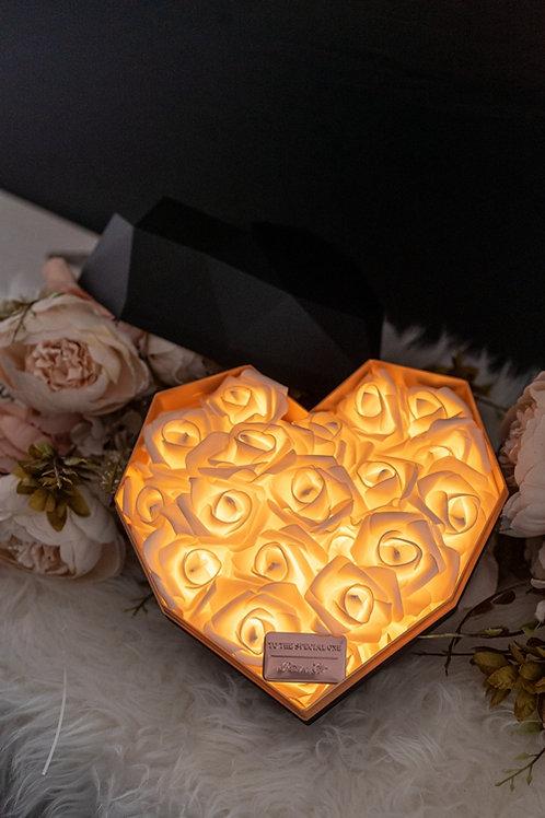 現貨 - 韓式心型閃亮玫瑰花盒(黑盒,香檳金光)