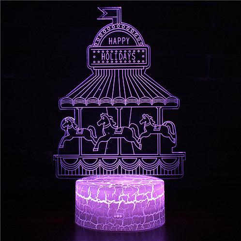 現貨 - 韓式12色搖控3D檯燈(旋轉木馬)