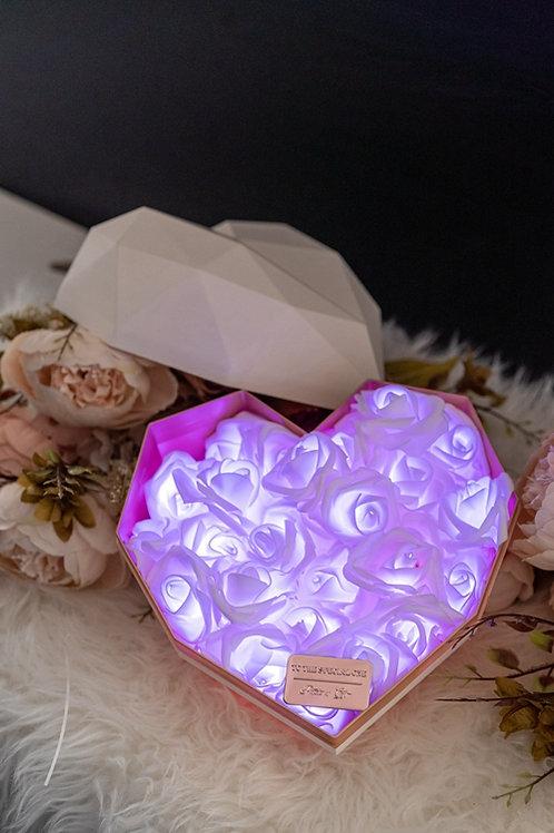 現貨 - 韓式心型閃亮玫瑰花盒(白盒,浪漫紫光)