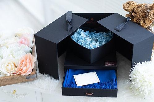 現貨 - 韓式發光永生花頸巾首飾盒 (秀麗藍光 + 藍色頸巾)