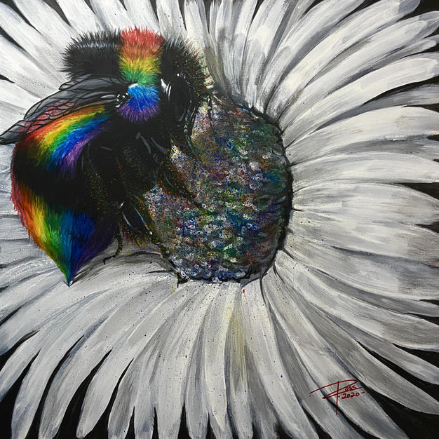 """Pollinate Love by Chris Ross Acrylic on Canvas 24"""" x 24"""" (unframed)"""