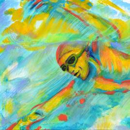 "Splash Joe LaMattina Mixed Media on Canvas 36"" x 24"" $275"