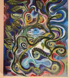 "Oasis  Jose Perez Acrylic 20"" x 16"" $250"