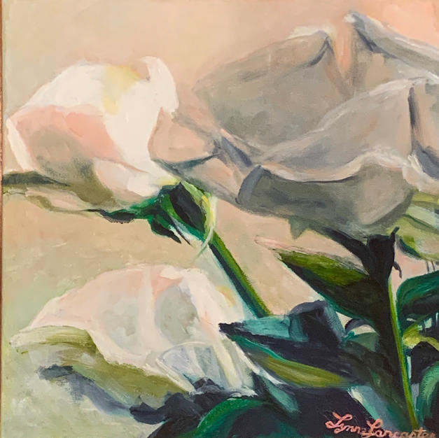"""White Roses by Lynne Lancaster Acrylic on Canvas 12"""" x 12"""" unframed"""