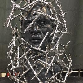 """Bioethis Beto (Carlos Sierra) Ceramic, Steel & Red Clay 20"""" x 19"""" x 16""""  $3500"""