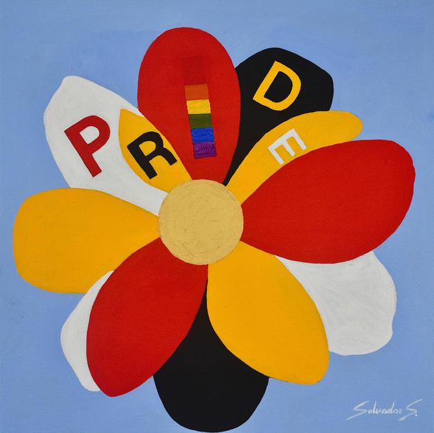 """Pride by Salvador Sanchez Acrylic on Gallery Wrap Canvas 12"""" x 12"""" (unframed)"""
