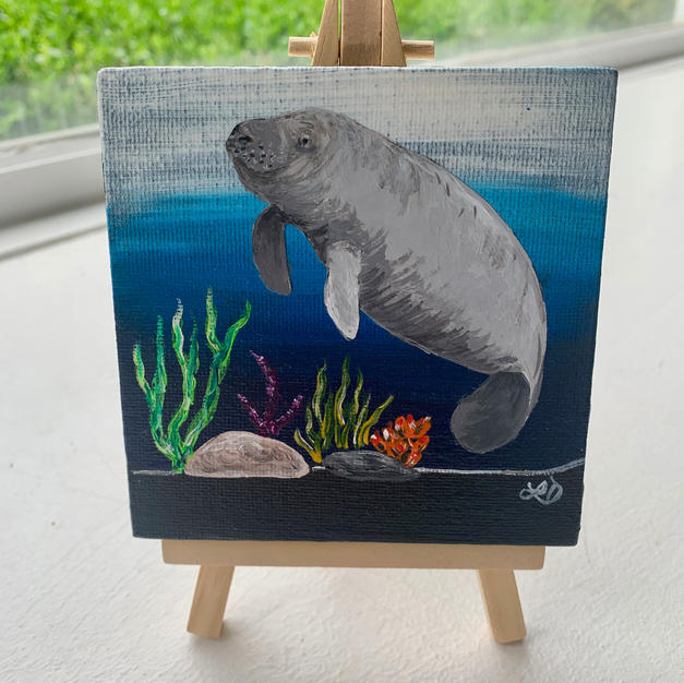"Manatee Lisa D'Amico Acrylic & Resin on Canvas 4"" x 4"" (with easel) $75"