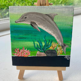 """Dolphin Lisa D'Amico Acrylic & Resin on Canvas 4"""" x 4"""" (with easel) $75"""