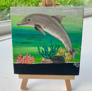"Dolphin Lisa D'Amico Acrylic & Resin on Canvas 4"" x 4"" (with easel) $75"
