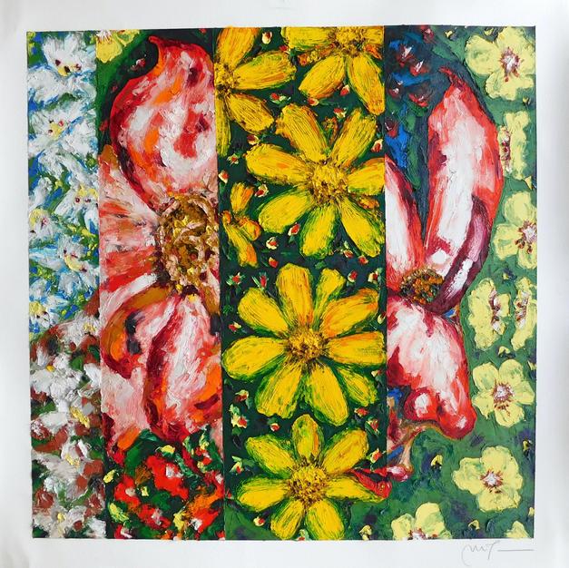 """Flowering by Maria Teresa Ortiz-Naretto Oil on Paper 37.5"""" x 36"""" (framed)"""