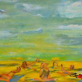 "5 Afloat Joe LaMattina Mixed Media on Canvas 48"" x 36"" $750"