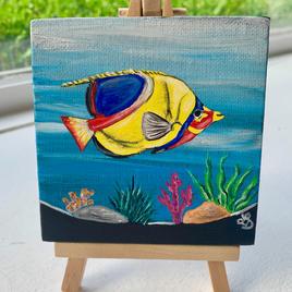 """Tropical Lisa D'Amico Acrylic & Resin on Canvas 4"""" x 4"""" (with easel) $75"""