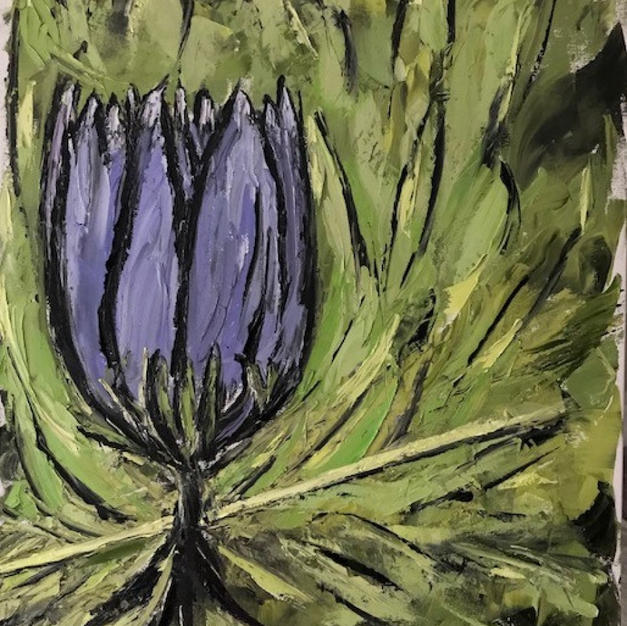 """Purple Flower with Green Background by Diana Mrugal Oil on Canvas 24"""" x 30"""" (unframed)"""