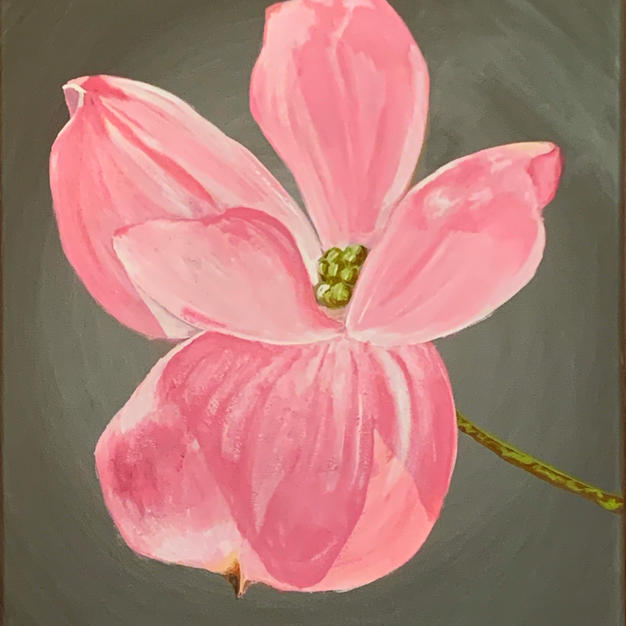"Pink Dogwood by Elyza Velez Acrylic on Canvas 16"" x 20"" unframed"