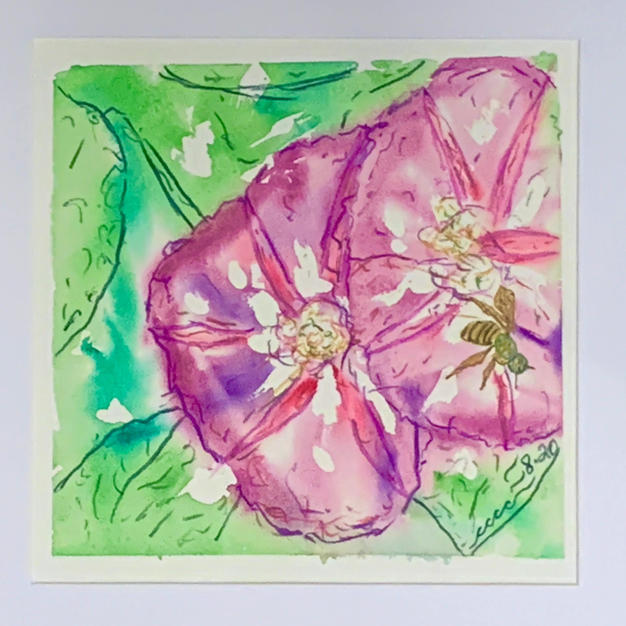 """Beautiful Day by Cass McVety Watercolor & Ink 11"""" x 11"""" (matted & framed)"""