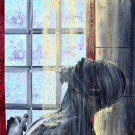 "Shower Joe LaMattina Acrylic on Canvas 24"" x 24"" $350"