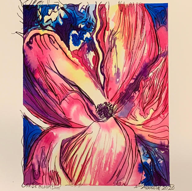"""Pride In Bloom by Charlotte Mouquin Watercolor on Mixed Media Paper 24"""" x 18"""" (unframed)"""