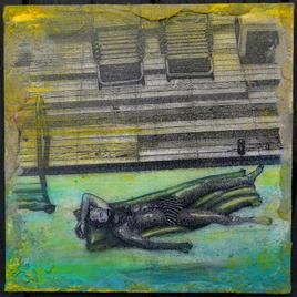 "Mini-Hopper/1:Fire Island Joe LaMattina Mixed Media on Canvas 12"" x 12"" $175"
