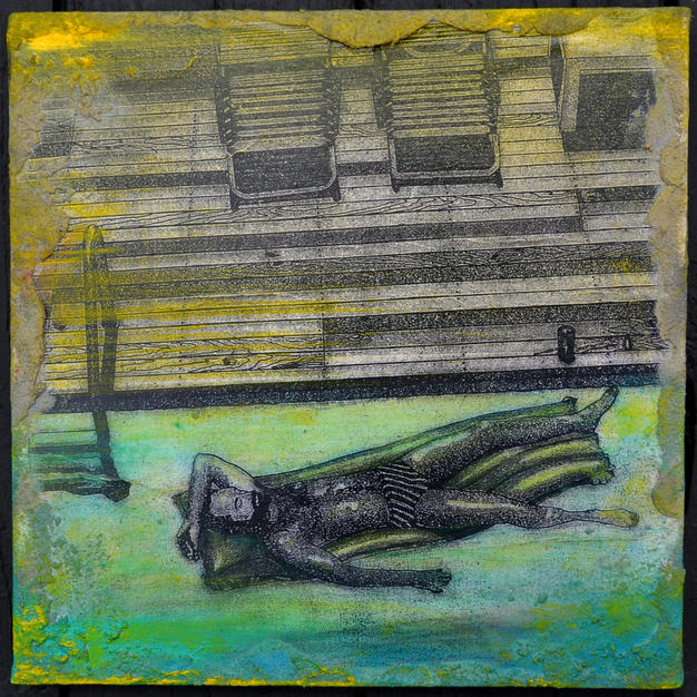 "Mini-Hopper/1:Fire Island Joe LaMattina Mixed Media on Canvas 12"" x 12"" $175"