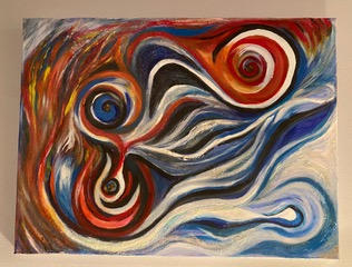 "Fire and Ice Jose Perez Mixed Media 20"" x 16"" $250"