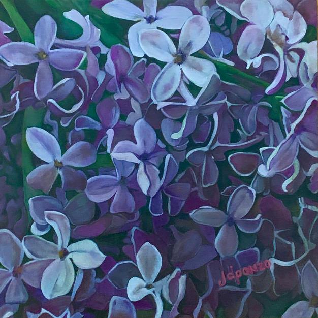 """Lilacs by Joanne Ponzo Oil on Wood 8"""" x 8"""" (unframed)"""