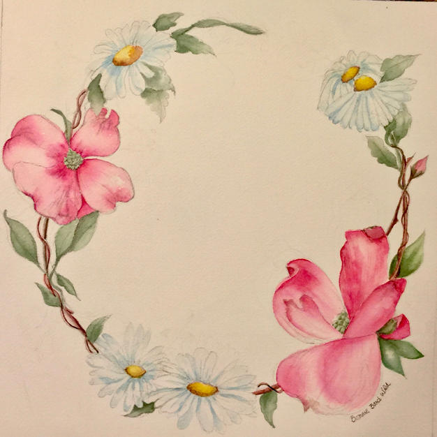 """Ring of Flowers by Bonnie Bard Wild Watercolor 19"""" x 19"""" (matted/framed)"""