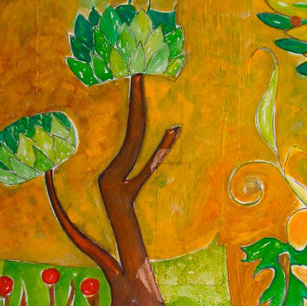 "Venetian Blooms by Carla Lobmier Watercolor/Mixed Media on Paper 15"" x 12"" (unframed)"