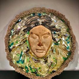 "Floating River Queen Beto  (Carlos Sierra) Ceramic and Plastic Sculpture 12.5""w x 13""t x 1""d $750"