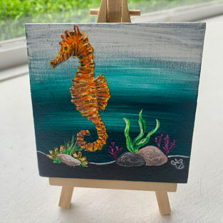 "Seahorse Lisa D'Amico Acrylic & Resin on Canvas 4"" x 4"" (with easel) $75"
