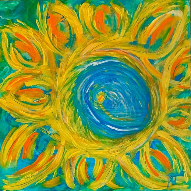 """Hawaiian Vibes by Jenna Marie Townsend Acrylic on Canvas 20"""" x 20"""" (unframed)"""