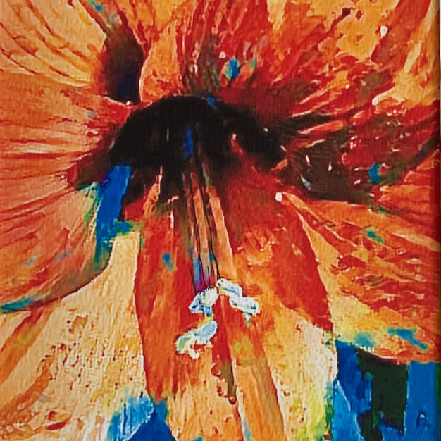 """Day Lily by Christa Domanico Mixed Media on Paper  8"""" x 10"""" (matted)"""