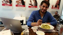 David eats pasta