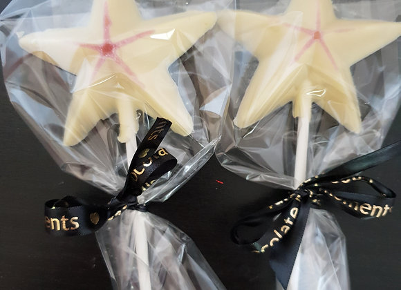 White chocolate star lolly