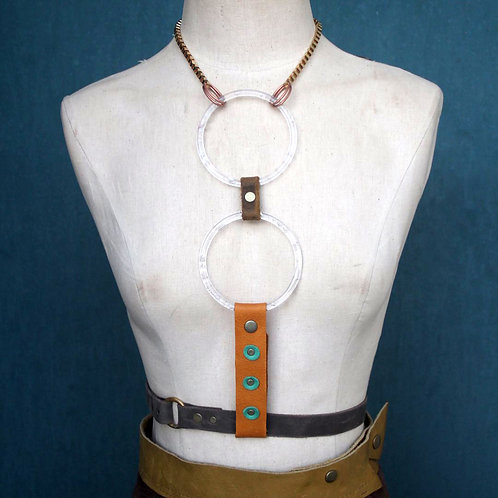 amber + copper// 2 moon lucite ring harness