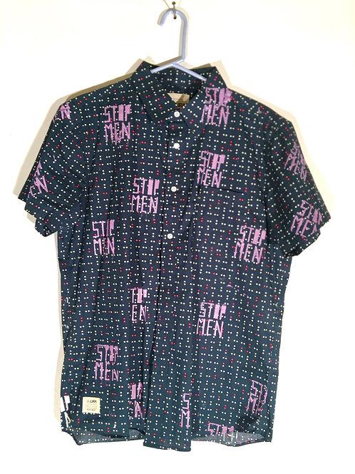 Pixel Pattern Dark Collar Shirt