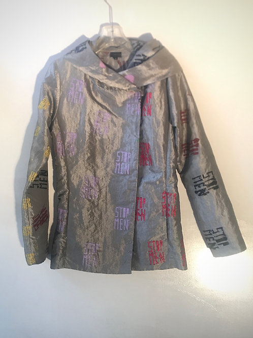 silver gray iridescent jacket pockets 16 in shoulder waist 17in 16 chest 28in L