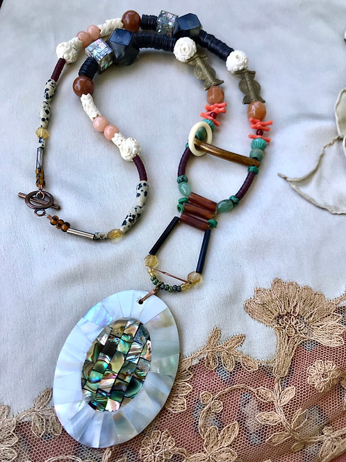 Shell abalone protection necklace