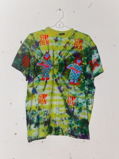 for real crazy clown print shirt  20inch shoulder  30inch length
