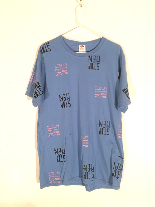 Cornflower Blue Tee with Pink & Black Print Front L