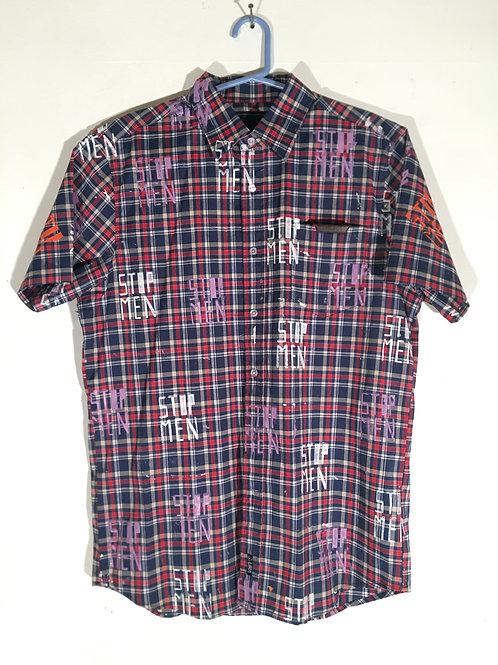 Red/Blue Plaid Short Sleeve Collar Shirt M