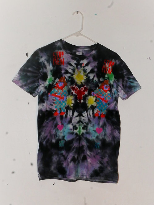 for real crazy clown print shirt 15 inch shoulder 26.5 inch length