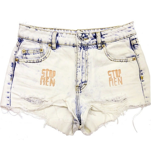 Cut-Off Stonewashed/ Bleached Booty Shorts S